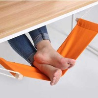 Foot Rest Hammock Footrest Under Desk Office Adjustable Control Foothold Wood