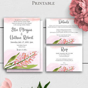 Blush Wedding Suite Template, Printable Wedding Invtitation, Watercolor Floral, Details Card, RSVP Card, Modern Wedding,Customized Printable