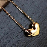 Gold Heart Pendant Chain Gold Necklace