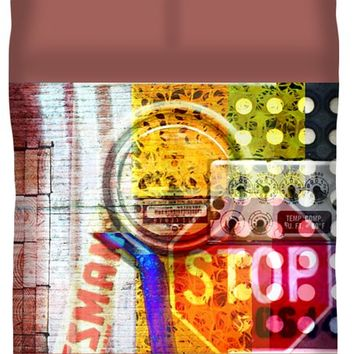 Industrial Art Collage With Bright Colors Full Duvet Cover for Sale by Suzanne Powers