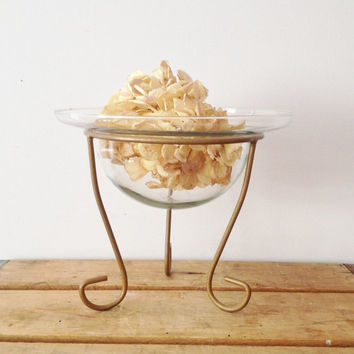 Gold Glass Candle Holder - Center Piece - Potpourri Holder