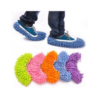 Multi Function Chenille Fibre Washable Dust Mop Slippers Cleaning Shoes [8045589127]