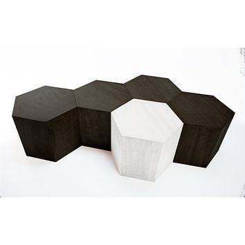 Hexagon Wood Modern Geometric Table- Matte Black