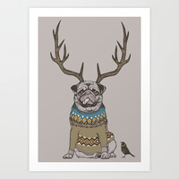 Deer Pug Art Print by Huebucket