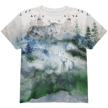 Watercolor Deer in the Mist All Over Youth T Shirt