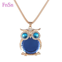 Fashion Womens Necklaces Jewelry Trendy Charms Crystal Owl Necklace Gold Long Chain Animal Necklaces&Pendants 2016 Hot Sale