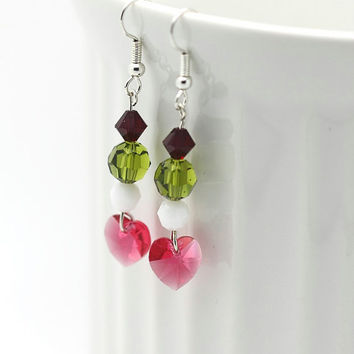 Swarovski Crystal Dangle Bead Earrings - Colorful Crystal Bead Dangle Earrings - Pink Crystal Heart Dangle Valentine Earrings