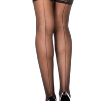 Trashy.com - Lingerie - panties - hosiery - swimsuit models - sexy lingerie - Sheer Seamed Lace Top Stockings