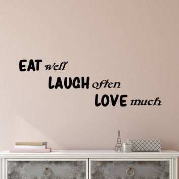 Vinyl Wall Decal Stickers Positive Motivation Quote Words Inspiring Eat Well Love Much Letters 2523ig (22.5 in x 7 in)