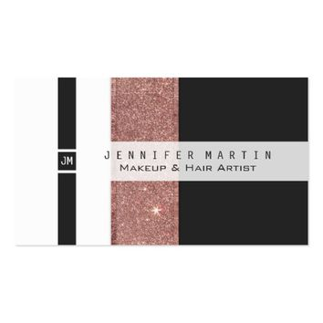 Modern Rose Gold Glitter Black White Color Blocks Business Card