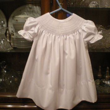 smocked christening dress, baby, infant, toddler, girl, white, cross, bishop, baptism,  communion