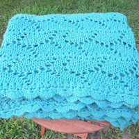 "Vintage teal green crochet afghan blanket throw with scalloped edge 68"" x 63"""