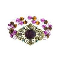 Bourges Purple Vintage Filigree Beaded Stretch Bracelet: Jewelry: Amazon.com