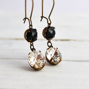 SPRING SALE 25% Black Noir Swarocski Crystal Earrings Rhinestone Clear  Crystal Dangling Earrings Long Jet 4eefc4399