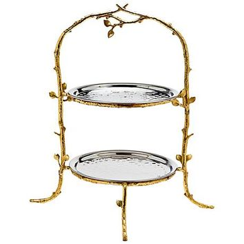 "Godinger Leaf Gold and Silver 17"" High 2-Tier Stand Server - #4G231 