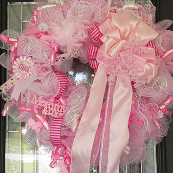 Xl baby girl wreath baby shower wreath from southernsasshd for Baby shower door decoration
