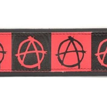 "Black & Red Anarchy Leather Wristband Cuff Bracelet 2"" Wide"