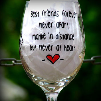 Best friends forever Wine glass, BFF long distance wine glass with states or countries 20 oz wine glass Personalized Wine glass