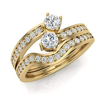 CERTIFIED 0.71 cttw Two-Stone Diamond Ring Set with wedding band 14K Gold