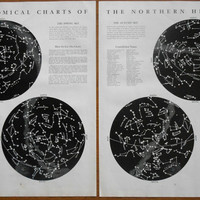 Star maps, set of 2 Vintage Astronomical Charts, stars and constellations in the Northern Heavens 1930s, Zodiac wall art, decor