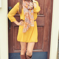 Loving You Is Fun Dress: Mustard