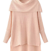 Nude Pink Off Shoulder Side Split Dipped Hem Knit Jumper