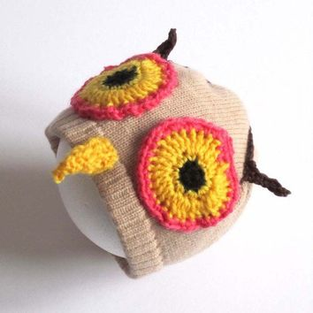 Handmade Knitted Owl Hat Pink Eyes twit by TheMiniatureKnitShop