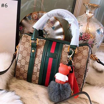 GUCCI 2018 new wild single shoulder diagonal package simple handbag Boston pillow bag #6