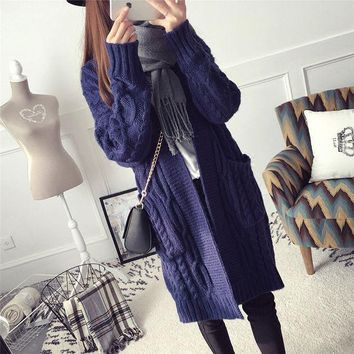 VLXZGW7 Fashion Solid Color Knit Loose Long Sleeve Cardigan Jacket