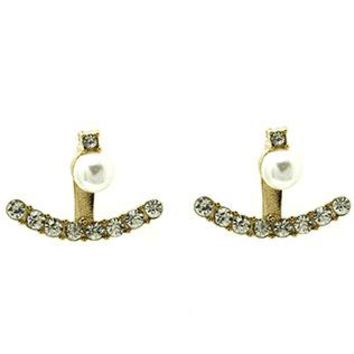 Double Sided Pearl Ear Jacket Pave Crystal Stone Earrings