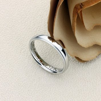 Promise Ring Stainless Steel Wedding Band Ring Men Women Unisex 4MM Milgrain Edges Domed Classy Ring Inside Personalize Engraving - ZSTR101