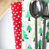 Holiday Napkins - Trees with Dots - Set of 4 Reversible Cloth