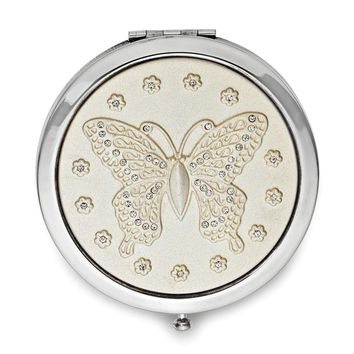 Silver-tone Swarovski Elements Butterfly Compact Mirror