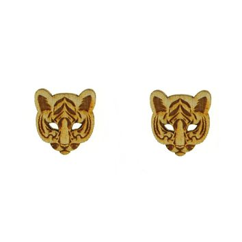 Tiger Head Earrings in Birch Wood