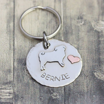 Custom pug silhouette ID tag, stamped Personalized pet name tag, pug name tag, pug, Hand engraved Pug Id tag