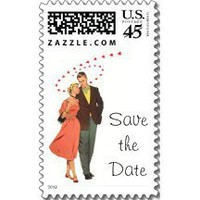 Vintage Save the Date! Postage Stamp