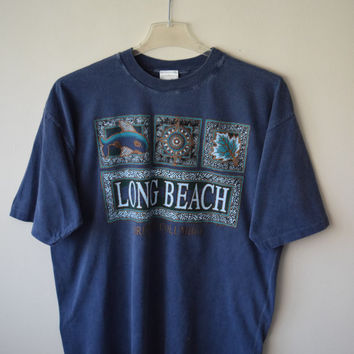 90s Long Beach, British Colombia, Canada Tourist Travel T-Shirt in Slate Blue w Rustic Tribal Designs // Trendy Hipster Style // Sz L