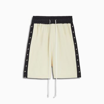 track team gym short / ivory + black