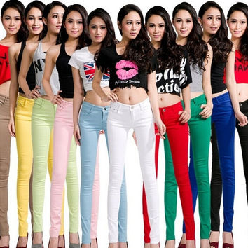 Autumn outfit new candy color pencil pants high elastic jeans female trousers pants = 1958689668