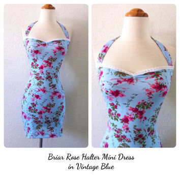 Vintage Blue ROSE Halter Mini Dress, Retro Pin Up Halter Mini Sun Dress, Summer Beach Wedding, Mod Boho Blue Floral Print Vines Pencil Mini