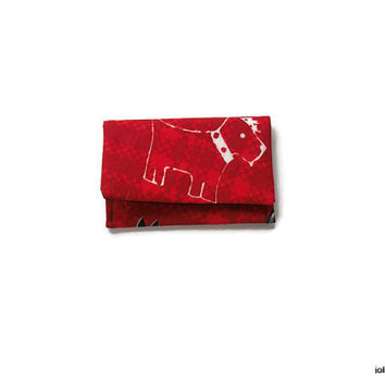 Scottie Dogs on Red Plaid Mini Pocket Jewelry Pouch