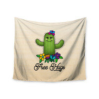 "Noonday Design ""Free Hugs Cactus"" Green Pastel Wall Tapestry"