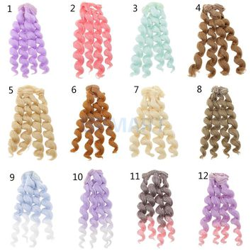 15x100cm DIY Curly Hair Wig Hairpiece for 1/3 1/4 1/6 BJD SD LUTS Dolls Making & Repair