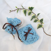 BATH SET // Blue bath set. Handmade Soap, Guest Soap, washcloth, cinnamon soap, organic cotton  washcloth, face scrub, Crochet  Soap Sack.