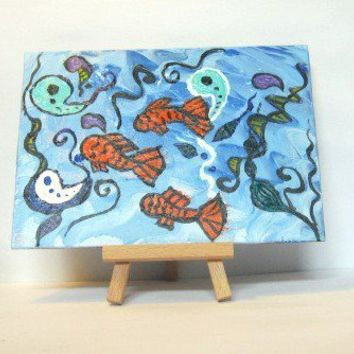small abstract painting - acrylic painting of fish - whimsical ocean art