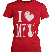 Funny Graphic Statement Womens Red T-shirt - I Love My Cat