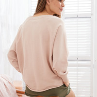 Aerie Raw Cut City Sweatshirt, Light Pink