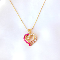 Crystal Heart Necklace Marked 925 Gold Chain 925 Italy