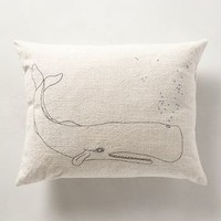 Bubbling Whale Pillow by Anthropologie Neutral 14 X 18 Pillows and Throws