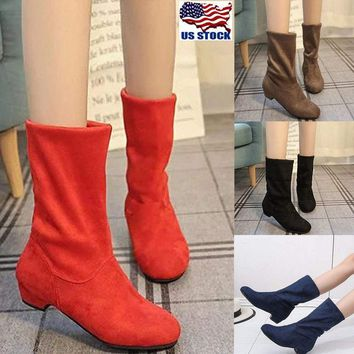 Women's Casual Flat Low Heel Boots Ladies Classic Ankle Shoes Stretch Suede Size